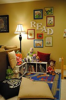 Framed book covers to decorate play room