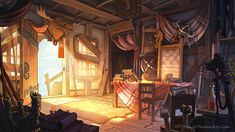 "A Playwright's Tale Background Art made for a Point and Click game called 'A Playwright's Tale"" daniel-thomas-danielsshack. Environment Concept Art, Environment Design, Animation Background, Art Background, Fantasy Places, Fantasy World, Bg Design, Loft Design, Fantasy Setting"