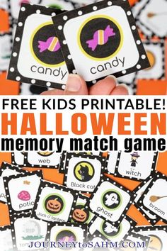 When thinking of classic and traditional growing up, memory match game is right at the top of the list. That's why I had to put together this fun Halloween memory match game for you this season. The holidays are such a fun time to spend with your kids. Besides the normal pumpkin carving, trick-or-treating, and other Fall-related stuff, you can make anything Halloween related. | @journeytoSAHM #kidshalloweengames #funmemorygamesforkids #halloweengames #freehalloweengames #halloweendiypartygame Free Halloween Games, Halloween Activities For Kids, Halloween Books, Easy Halloween, Toddler Activities, Educational Activities, Halloween Crafts, Games To Play With Kids, Memory Games For Kids