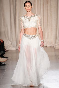 Loving the lace choli on this lengha inspired ensemble. Marchesa, spring 2013