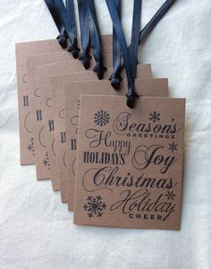 6 Holiday Greetings Rustic Christmas Gift Tags by BethAndOlivia
