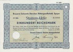 Speyer Brauerei Schwartz-Storchen Stamm-Aktie 100 RM 1942