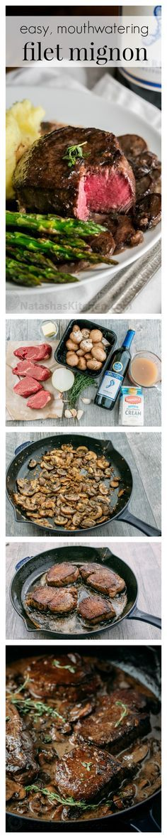 An easy, excellent recipe for filet mignon. The mushroom wine sauce is mouthwate… An easy, excellent recipe for filet mignon. The mushroom wine sauce is mouthwatering and tastes gourmet. This filet mignon recipe is perfect for any occasion! Meat Recipes, Dinner Recipes, Cooking Recipes, Healthy Recipes, Dinner Entrees, Paleo Dinner, Salad Recipes, Dinner Ideas, Mushroom Wine Sauce