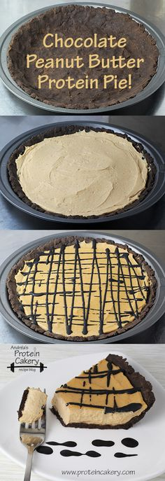 Chocolate Peanut Butter Protein Pie! Andréa's Protein Cakery high protein recipes - peanut butter pie, piday