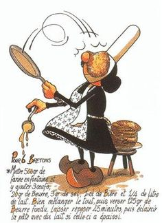 February 2 is Crêpe Day in France, or as they call it, La Chandeleur. I believe the English call today Candlemas, which is a new holiday for me. Week End Bretagne, French Crepes, How To Make Pancakes, Pancake Day, Crepe Recipes, Cookery Books, Lemon Curd, Food Illustrations, Recipe Collection