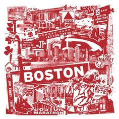 This art print created by GIGART is great for anyone living in Boston, or just a fan of Beantown. It is a nice collage of the many famous sites and imagery from one of the oldest cities in America.  Size: 17 x 17 inch / 1 Color Silk Screen / White Paper