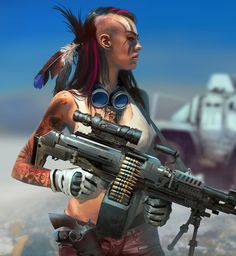 ArtStation - Apocalypse Warrior, by Christian Bravery - Shadowrun - Apocalypse World, Apocalypse Art, Apocalypse Survival, Mad Max, Character Portraits, Character Art, Post Apocalyptic Art, Tough Girl, Cyberpunk Art