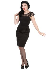 Hearts and Roses   Lucy Wiggle Dress Black  - Tragic Beautiful buy online from Australia