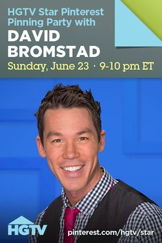 YOU are invited to join HGTV Star host David Bromstad for a pinning party Sunday, June 23 from 9-10 p.m. ET! Chat with @david bromstad about pictures from the show and season's past. Repin and invite your friends! Location: #hgtvstar Pinterest board >> http://pinterest.com/hgtv/star/