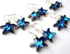 Beach Wedding Bridesmaid Earrings Ocean Starfish by JBMDesigns