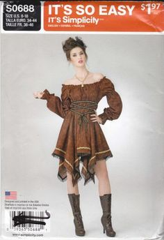 Simplicity Sewing Pattern S0688 0688 Misses Sizes 8-18 Easy Pullover Steampunk Dress Costume