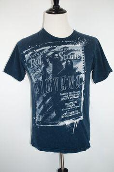 cb05b21cda2b Vintage Nirvana Band Rolling Stone Cover Magazine T-Shirt Size M Short  Sleeve