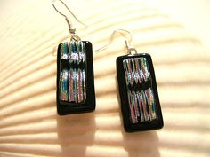 Fused Dichroic Dichroic Glass Earrings | by UNEEK GLASS FUSIONS