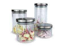 Glazen voorraad potten (set van 4 stuks)