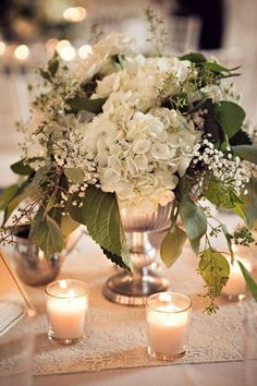Floral Centerpieces We Love, Wedding Flowers Photos by Elizabeth Jayne Church Wedding Flowers, Wedding Flower Photos, White Flower Centerpieces, Eucalyptus Centerpiece, Low Centerpieces, Flowers Vase, Seeded Eucalyptus, Decoration Table, Wedding Table