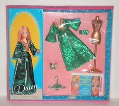 Topper Dawn GREEN SLINK #0716 1969 Doll Outfit