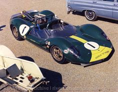 "The Lotus 40 Jim Clark drove at Riverside Raceway, 1965. Of the car, a supposed improvement over the mechanically-challenged Lotus 30, Richie Ginther reportedly said, ""same as the 30 but with ten more mistakes""."