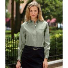 V0110 Van Heusen Ladies' Long-Sleeve Blended Pinpoint Oxford. Buy at wholesale price.