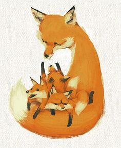 Fox with 3 Fox jrs.