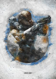 """Halo UNSC Navy Spartans Kelly-087 #Displate artwork by artist """"Pink Monkey"""". Part of a 7-piece set featuring artwork based on characters from the popular Halo video game franchise. £35 / $46 per poster (Regular size), £63 / $84 per poster (Large size) #Halo #CombatEvolved #Halo2 #Halo3 #Halo4 #Halo5 #HaloODST #HaloReach #HaloWars #MasterChief #John117 #UNSC #NavalSpecialWarfareCommand #Spartan #Buck #Frederic104 #Kelly087 #Linda058 #Locke #Vale"""