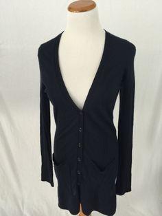 BURBERRY LONDON navy blue 100% cashmere cardigan sweater Women's M #Burberry #Cardigan
