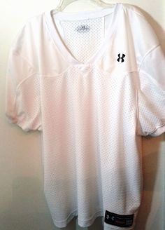 White  Under Armour Men's Football Mesh Practice Jersey  2XL XXL Loose Armor #UnderArmour #Jerseys