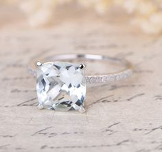 $488 Cushion Blue Aquamarine Engagement Ring Pave Diamond Wedding 14K White Gold 8mm