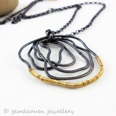 Sterling silver and gold fill Statement Pendant   -  Dark Paradox