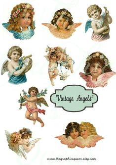 Digital Angel Decoupage Paper Vintage Angel by DigitalCollageClub