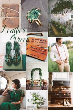 St. Patrick's Day Spring Wedding Inspiration In Hues of Green & Leather  http://storyboardwedding.com/st-patricks-day-spring-wedding-inspiration-green-leather/