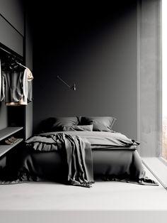 Minimal Home Decor Design minimal black bedroom decor Minimalist Bedroom Small, Minimal Bedroom, Minimalist Apartment, Minimalist Home, Black And Grey Bedroom, Black Bedroom Decor, Black Interior Design, Floating, Bedroom Plants