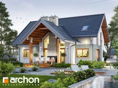 By archon+ projekty domów is part of Facade house - Here you will find photos of interior design ideas Get inspired! Modern House Facades, Modern Architecture House, Architecture Design, Luxury House Plans, Cottage Style Homes, Prefab Homes, Facade House, House Goals, Home Fashion