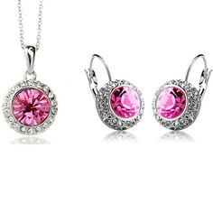 Crystal Pendant on Silver or Gold Plated Necklace with Earrings Jewelry Set