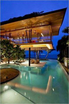 Looks like a #Tiki #Loft with a zero edge pool below
