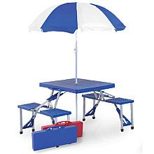 Picnic Plus Folding Picnic Table With Umbrella