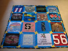 """Don't forget to save those high school varsity letters, jackets or sweaters!  I appliqued the """"SK"""" letters  onto a block in this quilt. They look fantastic!"""