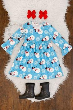 Bell Sleeve Blue Snowman Dress Boutique Clothing, Fashion Boutique, Kid Clothing, Ava Paige, Little Princess, Formal Wear, Her Style, Snowman, Kids Outfits