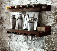 No room for a bar? Mount all the your wine essentials on the wall.