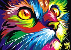 cuadros decoracion pop art abstract animal oil painting on the canvas Home decor wall art colorful cat picture for living room