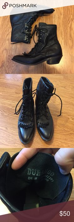Vintage leather Durango Boots Great condition. Genuine leather. Very little wear. Black. Pointed toe. Durango Shoes Lace Up Boots