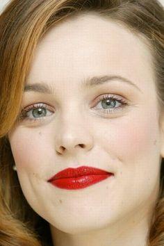 bright red lips, subtle blush, brown eyeshadow