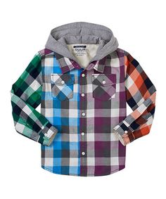 Take a look at this Vintage White Rainbow Plaid Hooded Button-Up - Infant, Toddler & Boys by RUUM on #zulily today!