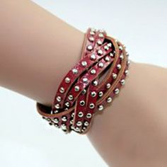$5.20 Retro Simple Style Pure Color Rivet Embellished Womens Multi-Layered Bracelet