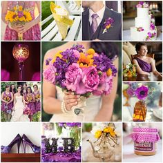 yellow and purple wedding | First row: sunflowers , paper cone , boutonniere , cake
