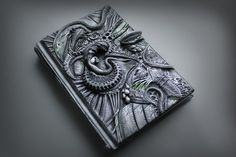 DISPLAY ITEM - The Hive  Alien Journal- secret diary- plain sketchbook- polymer clay - fantasy steampunk leather effect