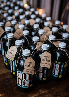 Bottles of local Grady's cold brew coffee makes for a great Brooklyn-themed wedding favor | Brides.com