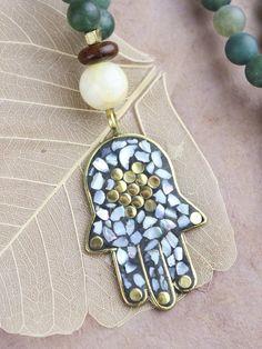 Auspicious Hamsa and Moss Agate Necklace