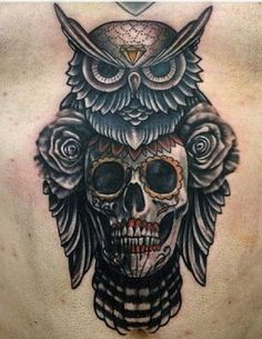 skull and owl on chest #tattoo
