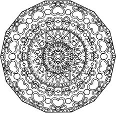 Printable Download Coloring Page, Hand Drawn Zentangle Inspired Abstract Zendoodle Mandala Lineart. $2.20, via Etsy.