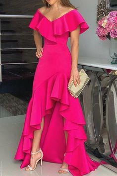 Unique Prom Dresses, hot pink fashion prom dress, There are long prom gowns and knee-length 2020 prom dresses in this collection that create an elegant and glamorous look Tight Prom Dresses, Evening Dresses, Maxi Dresses, Dress Prom, Casual Dresses, Elegant Dresses, Party Dresses, Hot Pink Dresses, Woman Dresses